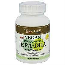 Spectrum Essentials Vegan Ultra Omega-3 EPA DHA Flax Oil supplement